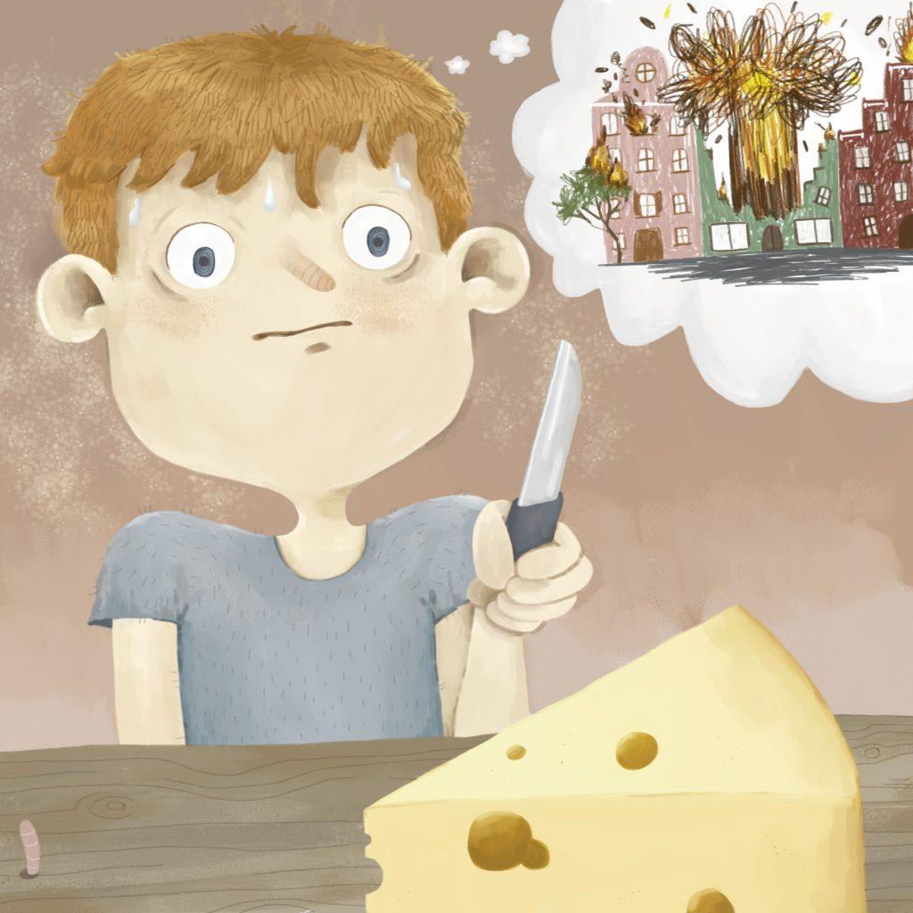 Illustration: Junge mit Messer vor Käse