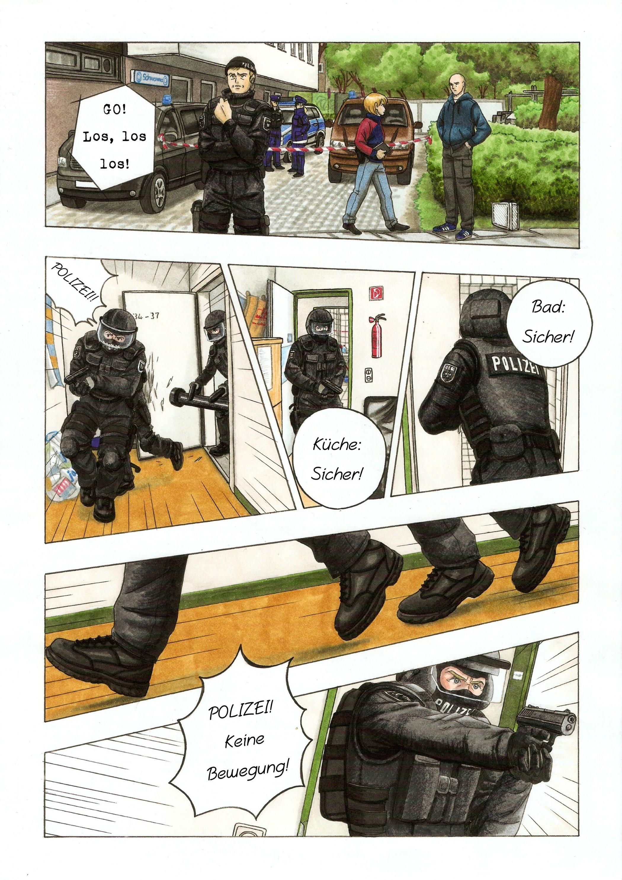 Comic-Seite, Thema: Polizei; von Vanessa Drossel