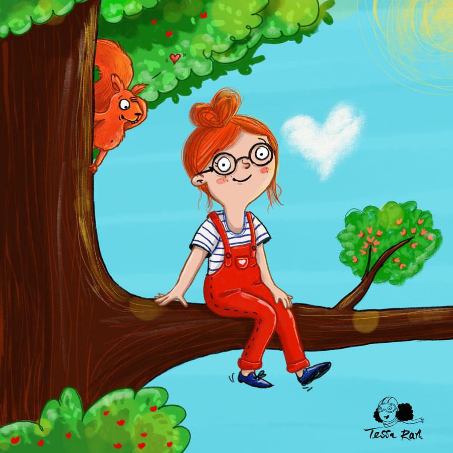 Mädchen auf Baum