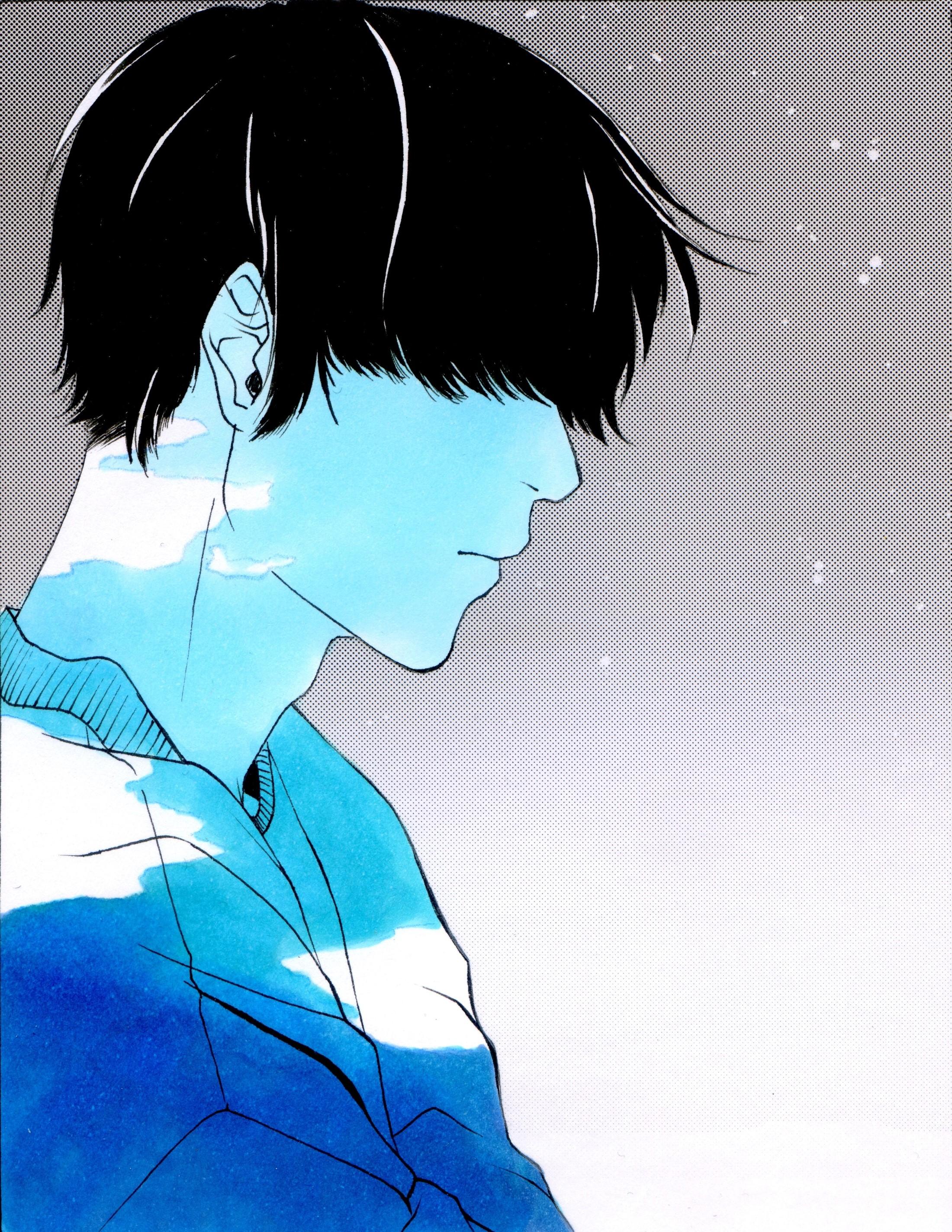 Junge, blau
