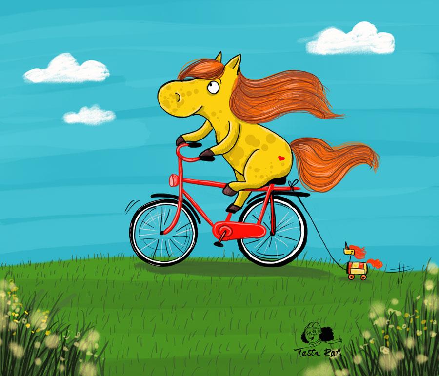 Pferd auf Rad