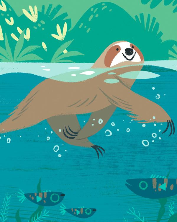 Faultier, schwimmend