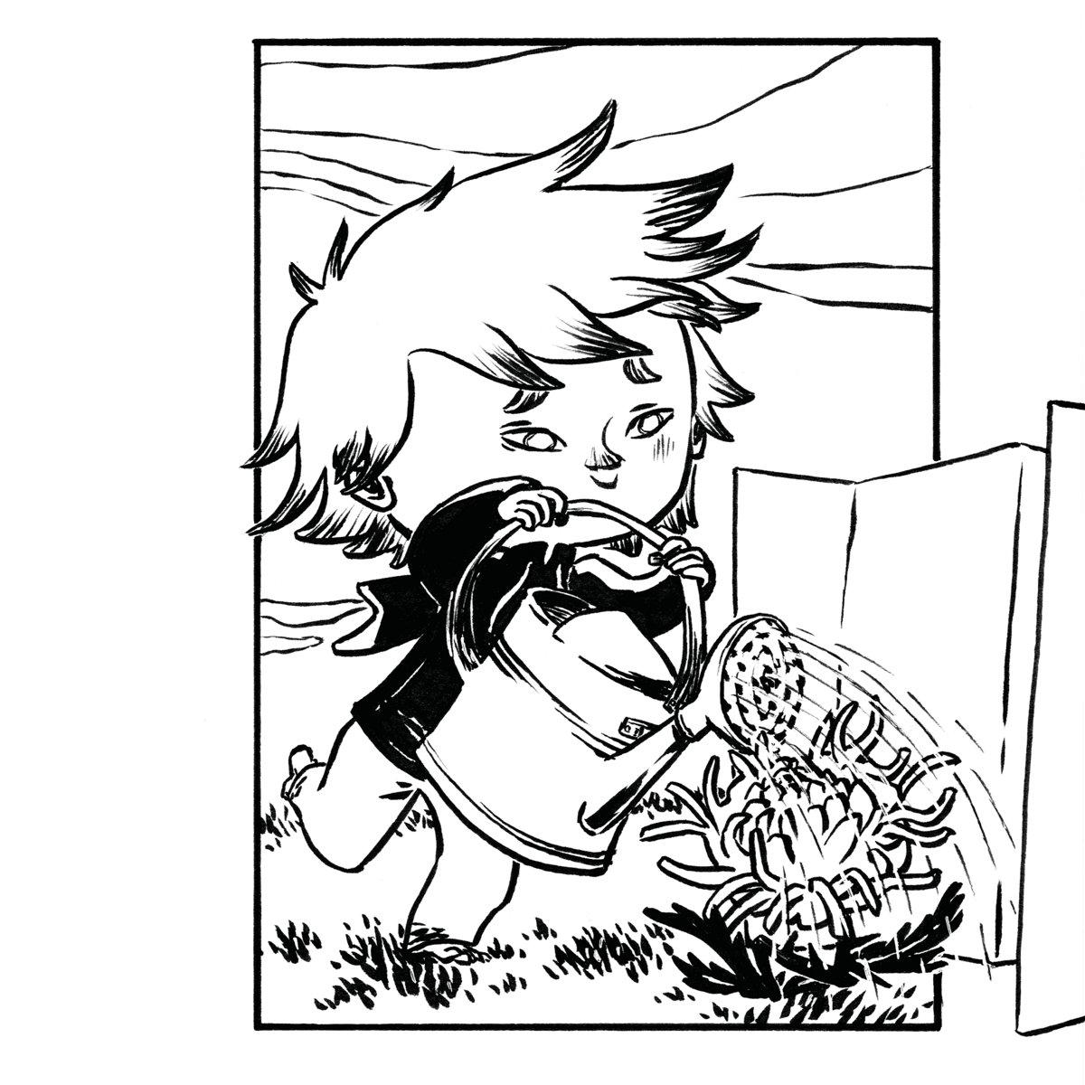 Kleiner Prinz mit Gießkanne