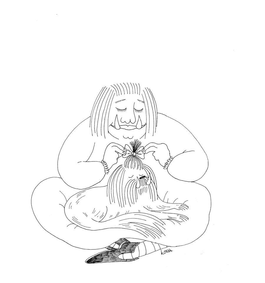 Monsterausmalbuch: Frau und Hund