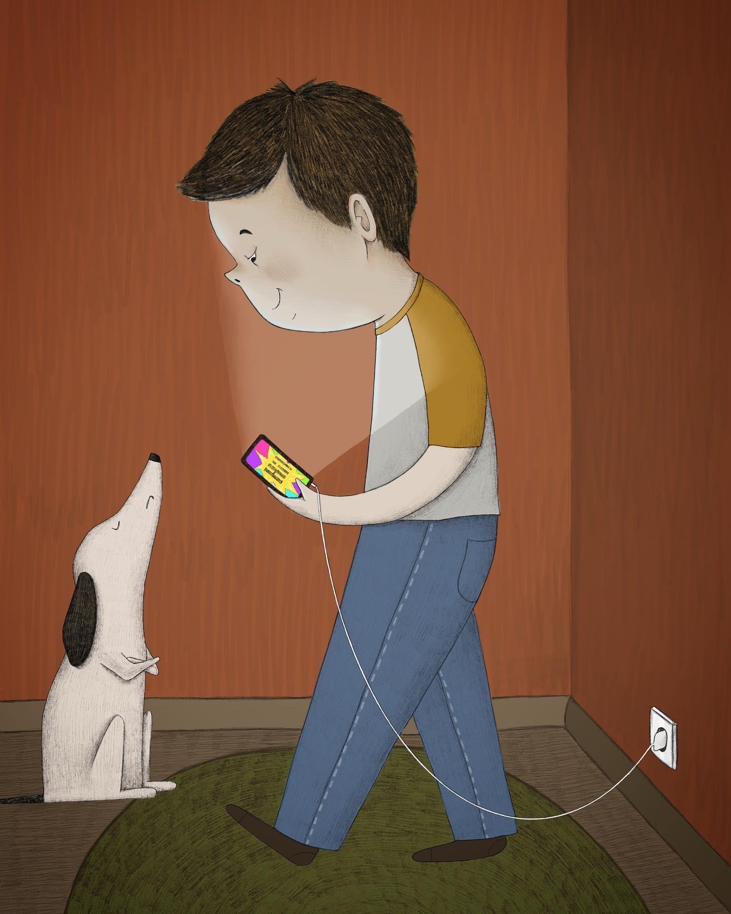 Junge, Hund und Smartphone