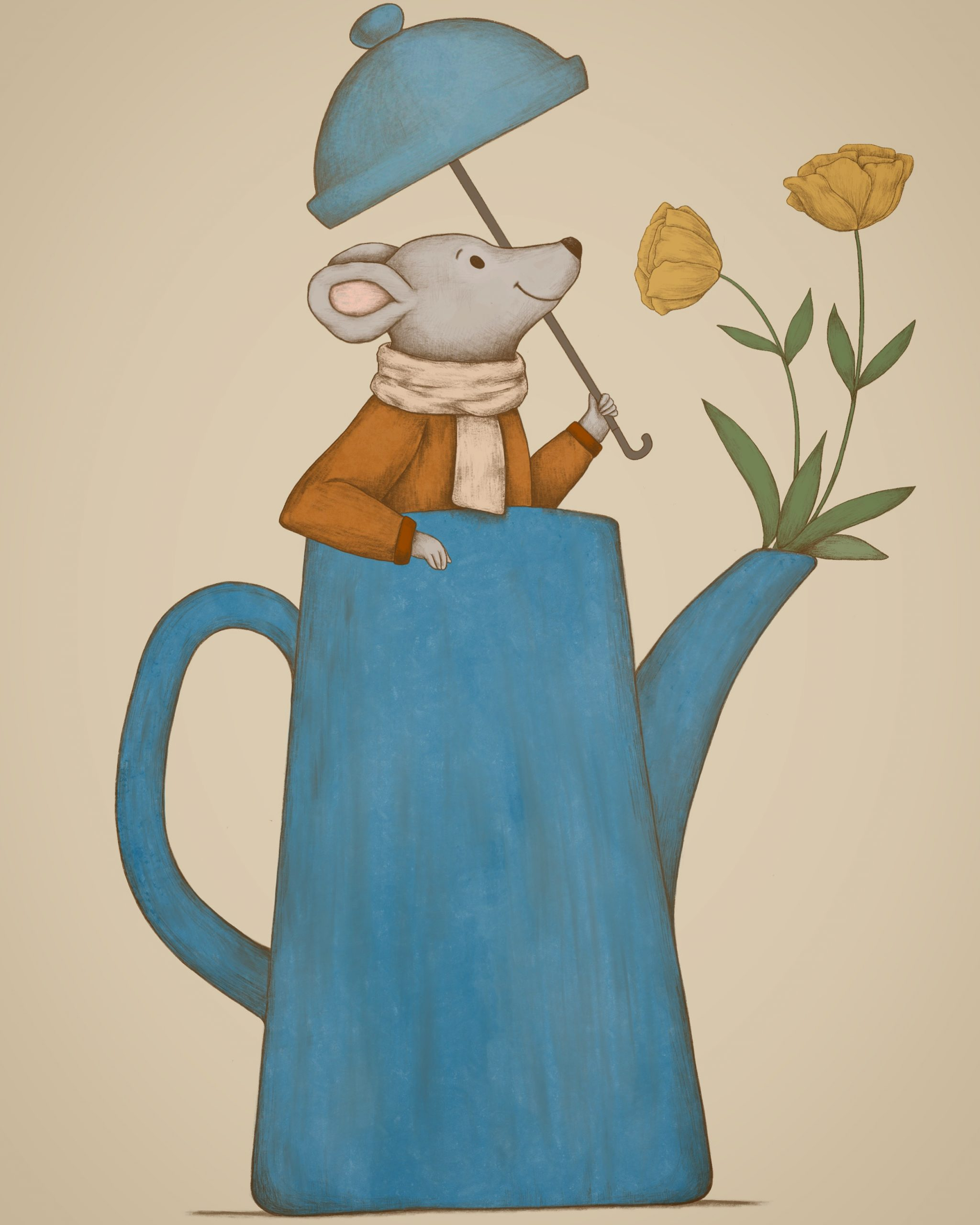 Gießkanne mit Maus