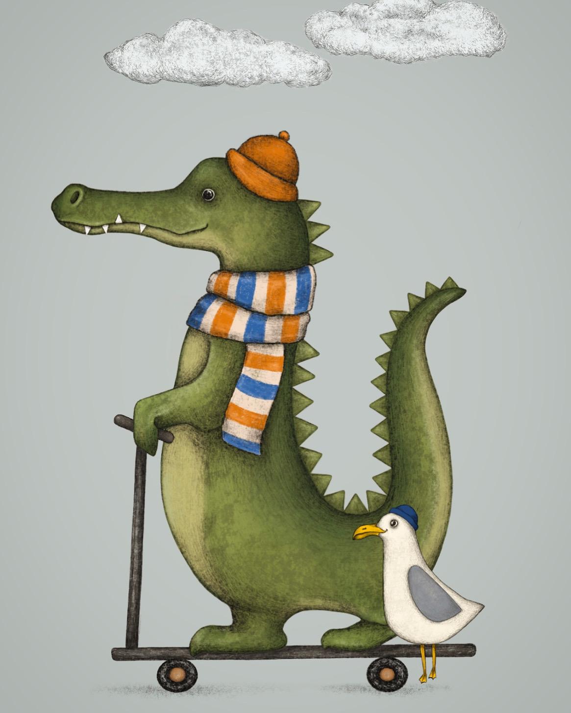 Krokodil  und Möwe
