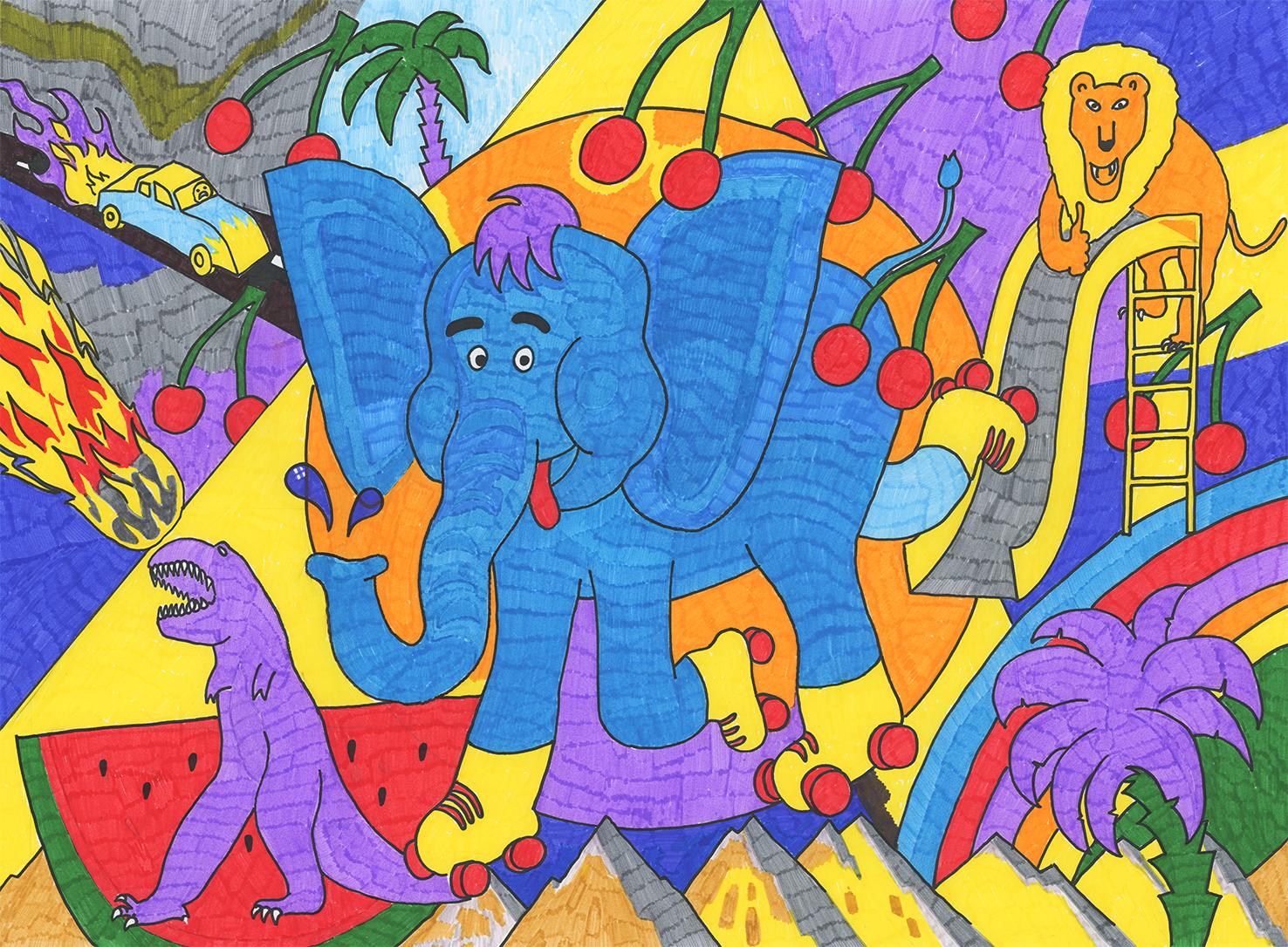 Elefant mit Rollschuhen