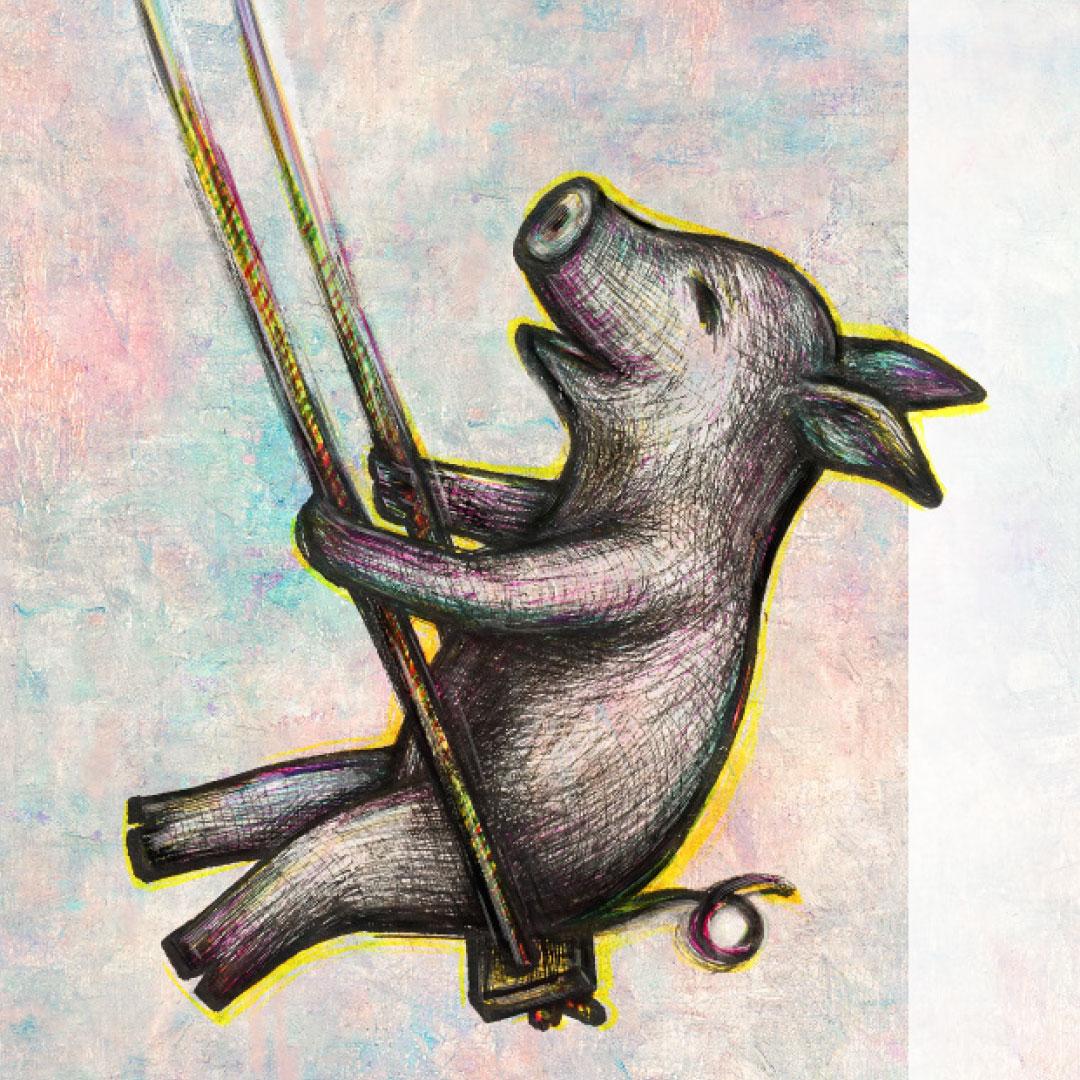 Schwein schaukelt