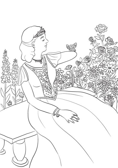 Prinzessin-Ausmalbild