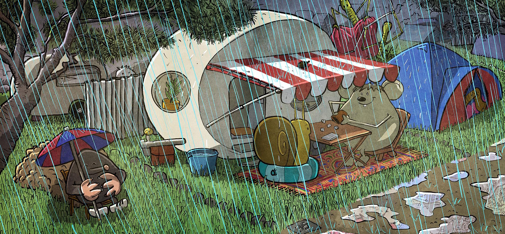 Regen-Camping